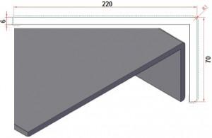 Dagkantafwerking hoek 70x220mm