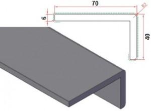 Dagkantafwerking hoek 70x40mm